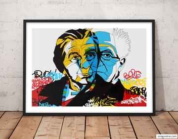 Colorful Pop Art canvas portrait of David Ben-Gurion and Golda Meir on a graffiti, street art background