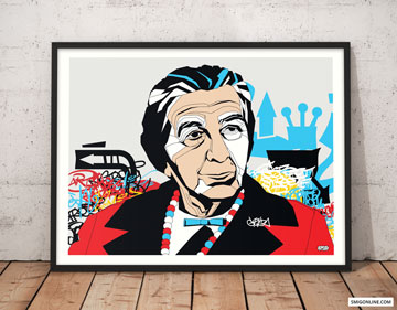 Colorful Pop Art canvas portrait of Golda Meir on a graffiti, street art background