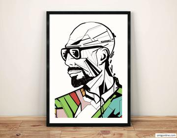 Man profile with sunglasses. Geometric style