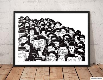 Contemporary and humoristic black and white Judaica Pop Art of Charlie Chaplin in the middle of an Orthodox Jewish crowd