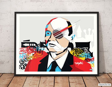 Colorful Pop Art canvas portrait of Moshe Dayan on a graffiti, street art background